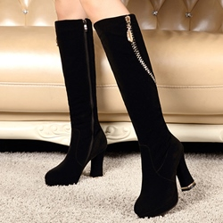 Shoespie Black Block Heel Round Toe Knee High Boots