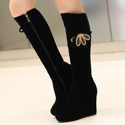 Shoespie Black Round Toe Wedge Heel Knee High Boots