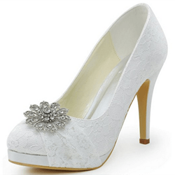 Shoespie Satin Lace Flower Appliqued Wedding Shoes