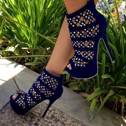 Shoespie Square Cutout and Rhinestone Cage Sandals