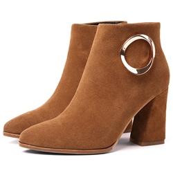 Shoespie Metal Buckle Block Heel Ankle Boots