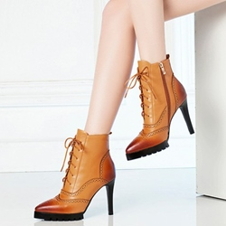 Shoespie Elegant Brogue Lace Up Stiletto Heel Ankle Boots