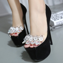 Shoespie Chic Sequined Rhinestone Platform Heels