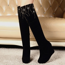 Shoespie Elegant Fire Embellished Wedge Heel Knee High Boots