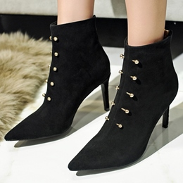 Shoespie Black Buckle Pointed Toe Booties