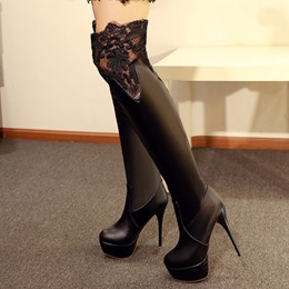 Shoespie Chic Lace Inset Platform High Heel Boots