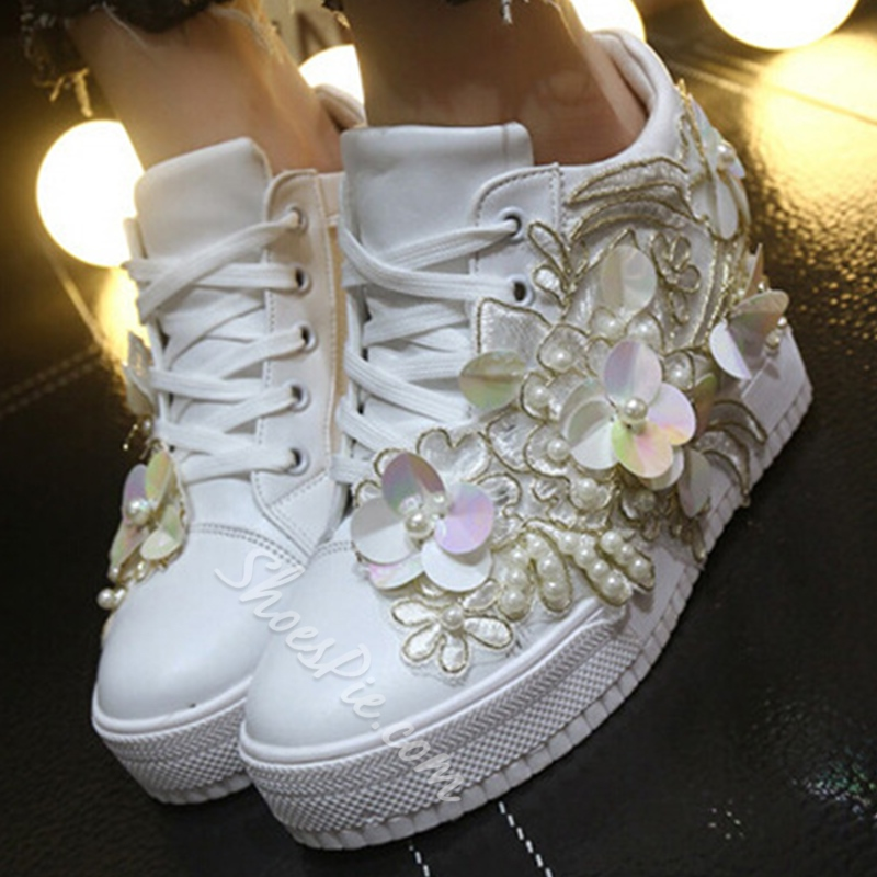 Shoespie White Beading and Appliqure Sneakers