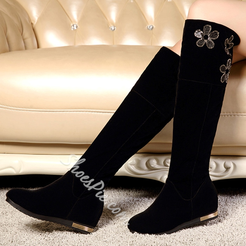 Shoespie Chic Black Flower Embroidered Knee High Boots