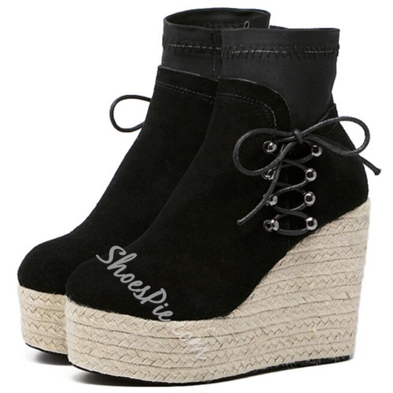 Shoespie Chic Plain Side Lace Up Wedge Heel Ankle Boots