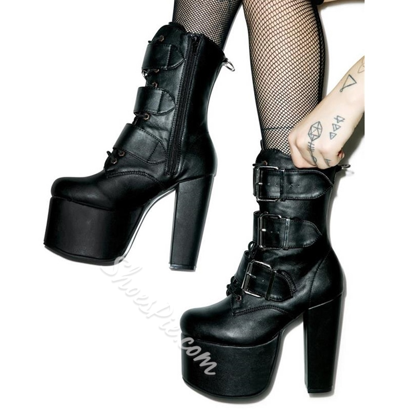 Shoespie Sexy Black Buckle Platform Ankle Boots