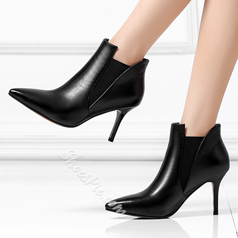 Shoespie Chic Pointed Toe Contrast Color Booties