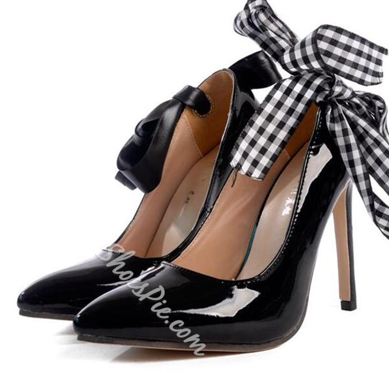 Shoespie Chic Bow Appliqued Stiletto Heels