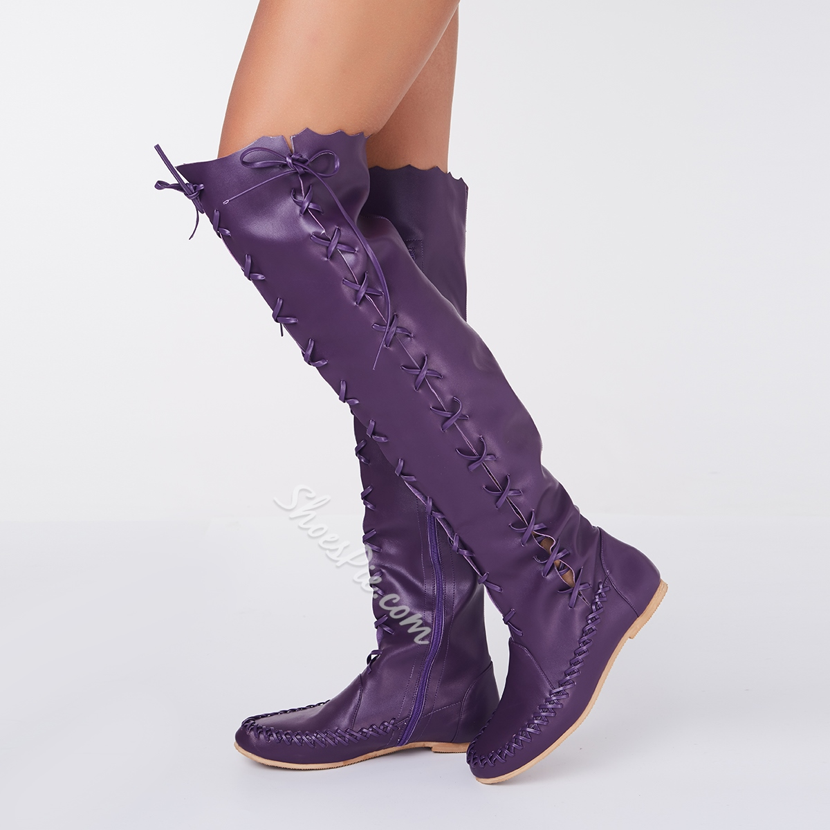 Shoespie Gypsy Lace-Up Knee High Flat Boots