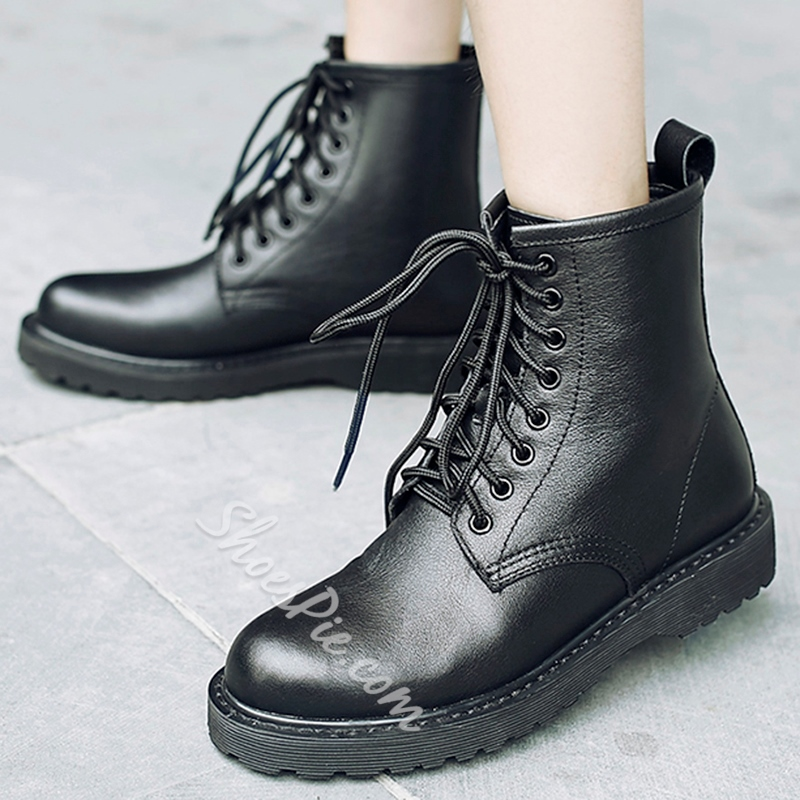 Shoespie Comfortable Round Toe Lace Up Martin Boots