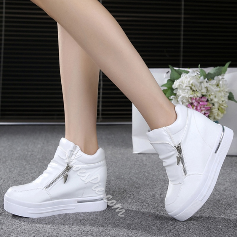 Shoespie White Side Zippers Sneakers