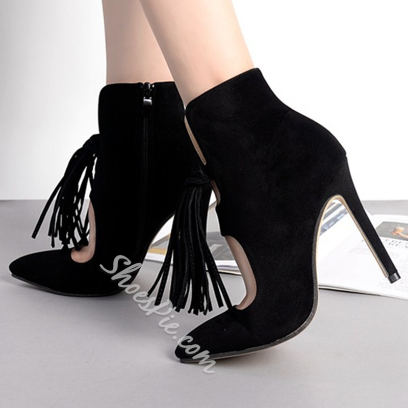 Shoespie Chic Fringe Embellished Stiletto Heel Ankle Boots