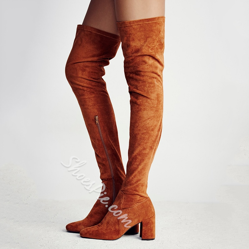 Shoespie Slim Block Heel Thigh High Boots