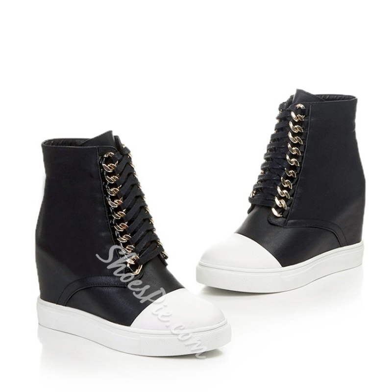 Shoespie Fashion Mysterious Black High Upper Hidden Wedge Sneakers