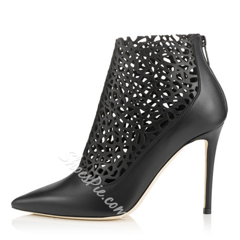 Shoespie Chic Cut Out Stiletto Heel Ankle Boots