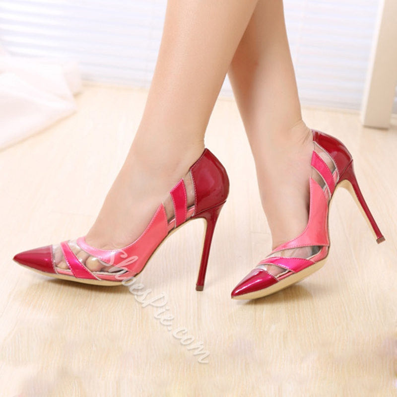 Shoespie Delicate Color Block Pointed Toe Stiletto Heels