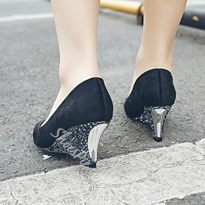 Shoespie Fashion Horsehair Sequine Wedge Heels