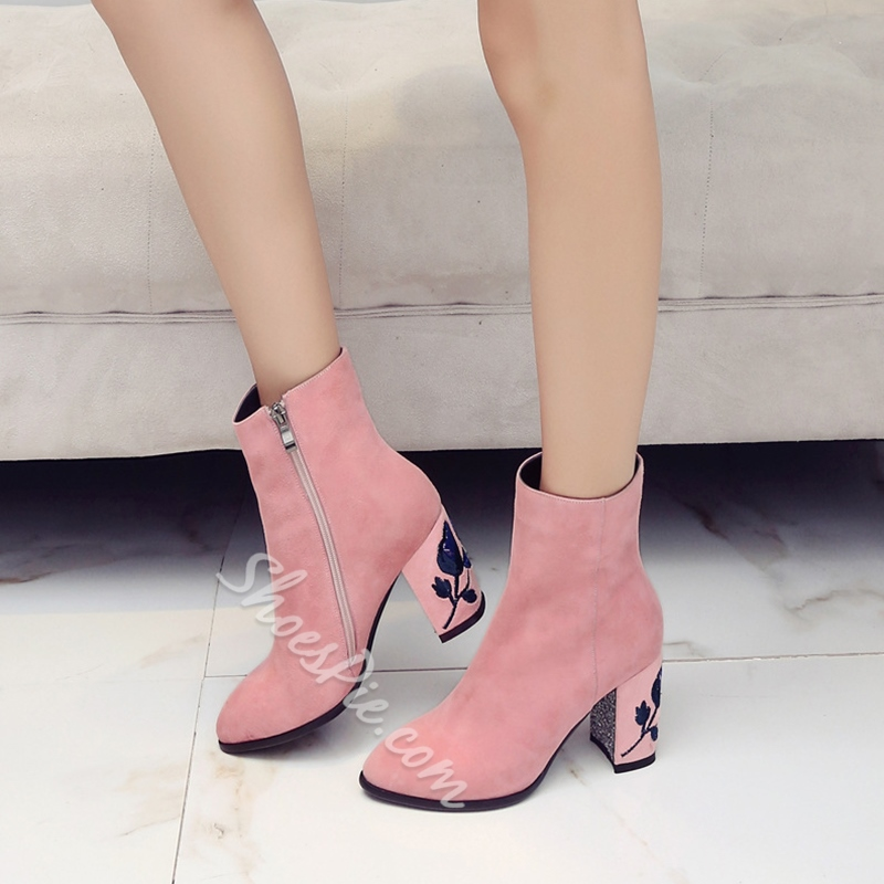 Shoespie Chic Velvet Embroidered Booties