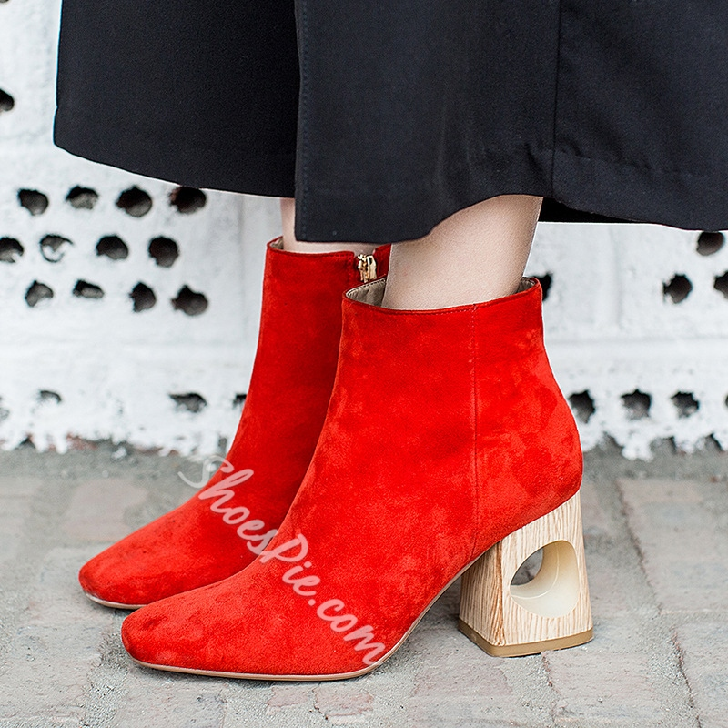 Shoespie Classy Hollow Block Heel Ankle Boots