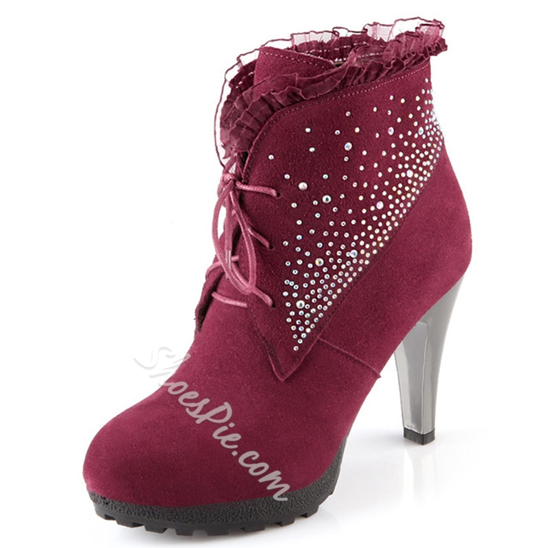 Shoespie Elegant Sequine Lace-Up Ankle Boots