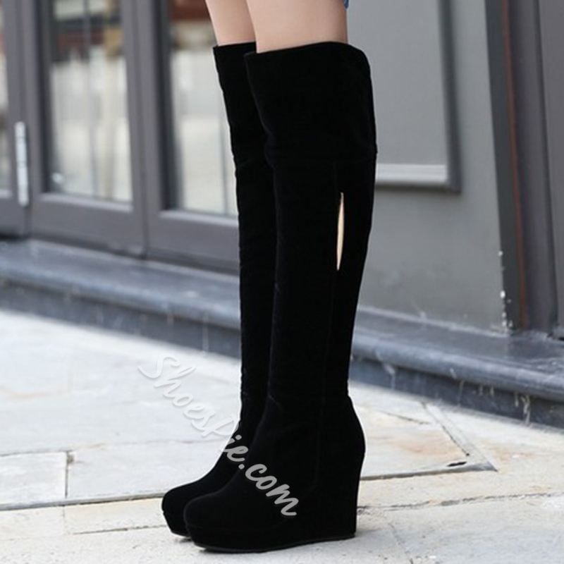 Shoespie Chic Round Toe Wedge Heel Knee High Boots