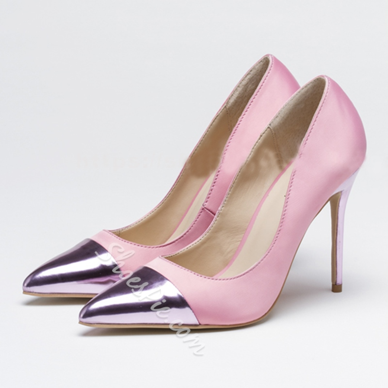 Shoespie Elegant Satin Patchwork Stiletto Heels