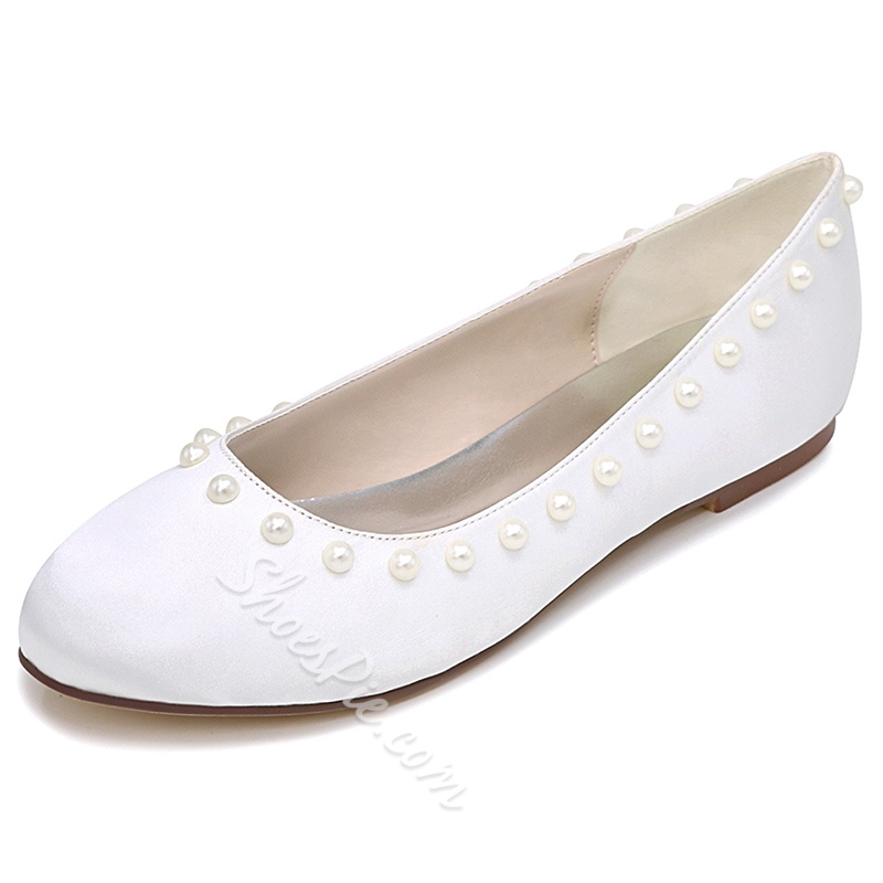Shoespie Chic Beaded Bridal Loafers