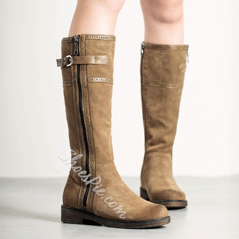 Shoespie Vintage Buckle Round Toe Knee High Boots