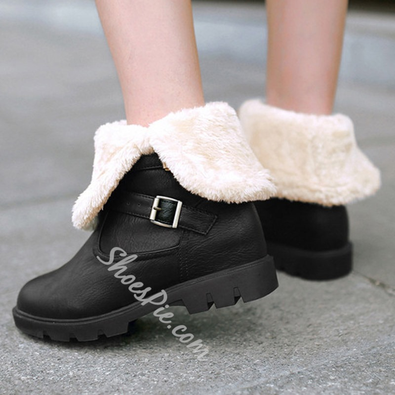 Shoespie Chic Soft Leather Warm Flat Boots