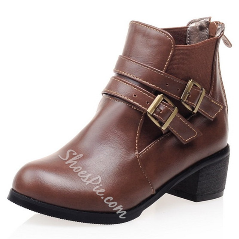 Shoespie Street Style Buckle Flat Boots
