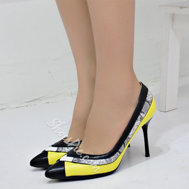 Shoespie Amazing Color Block Stiletto Heels