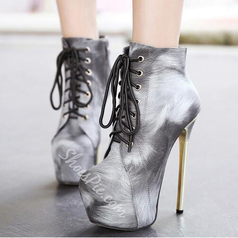 Shoespie Closed Toe Lace Up Platform Ankle Boots
