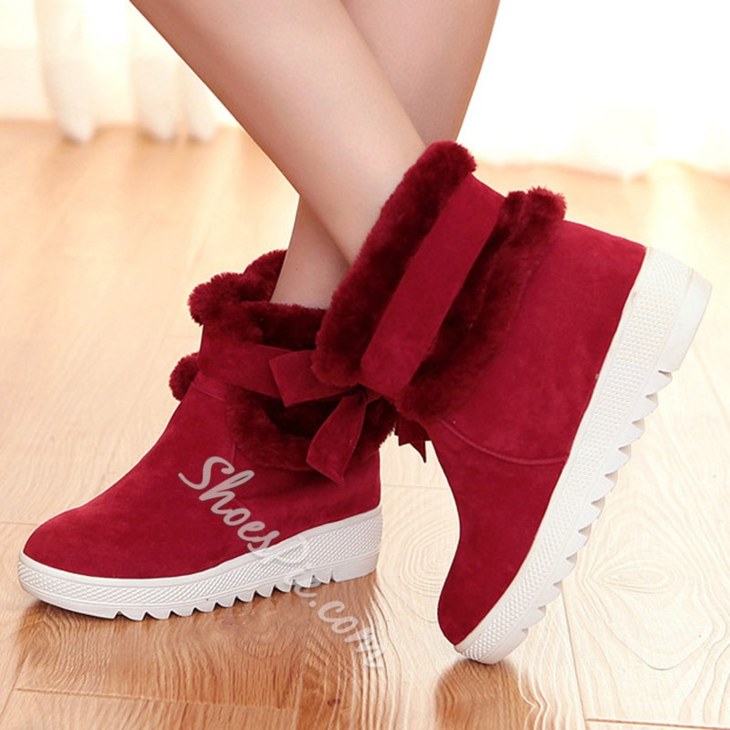 Shoespie Sweet Bow Platform Snow Boots