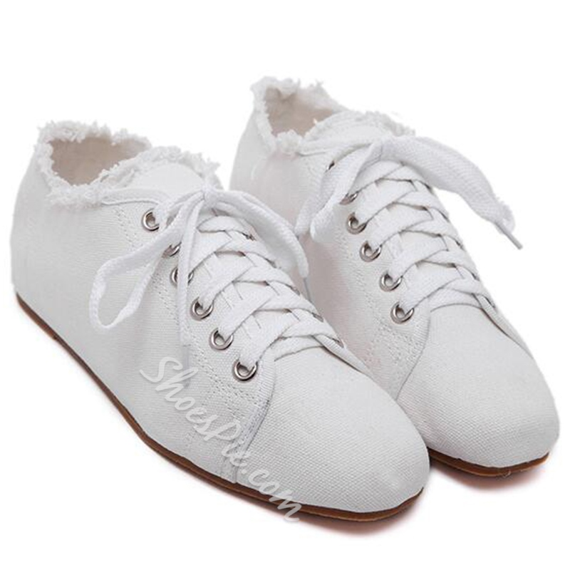 Shoespie White Canvas Square Toe Laceup Shoes