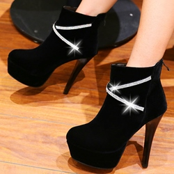 Shoespie Chic Cross Strap Embellished Platform Ankle Boots