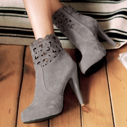 Shoespie Hollow Side Zipper Stiletto Heel Short Floss Ankle Boots
