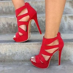 Shoespie Red Cut Out Open Toe Platform Heels