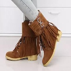 Shoespie Distress Fringe Buckle Flat Boots