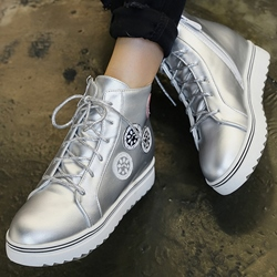Shoespie Round Toe Patent Leather Flat Boots