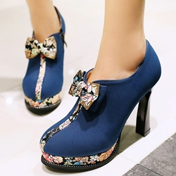 Shoespie Printed Color Block Platform Heels