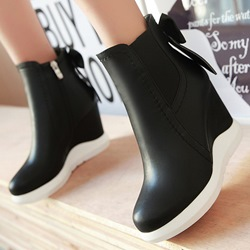Shoespie Classy Color Block Wedge Heel Ankle Boots