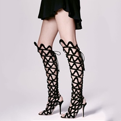 Shoespie Gorgeous Cut Out Cage Lace Up Knee High Sandal Boots