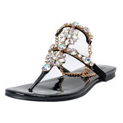 Shoespie Rhinestones Chains Flat Sandals