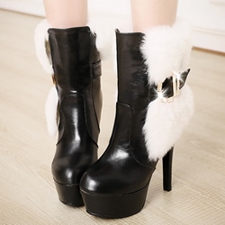 Shoespie Faux Fur Embellished Platform High Heel Boots
