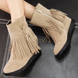 Shoespie Nubuck Leather Fringe Flat Boots