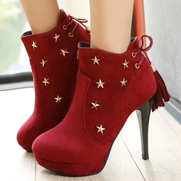 Shoespie Metal Star Embellished Back Tie Ankle Boots
